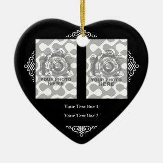 Create Your Own Heart Ornament Black White Frame