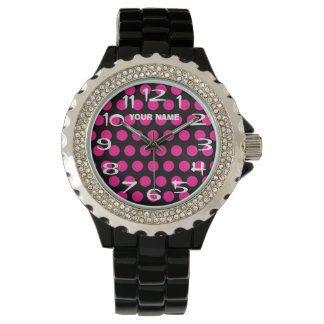 Create Your Own Hot Pink Polka Dot Personalized Wrist Watch