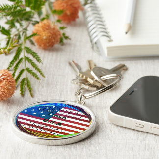Create Your own I LOVE USA Silver-Colored Round Key Ring