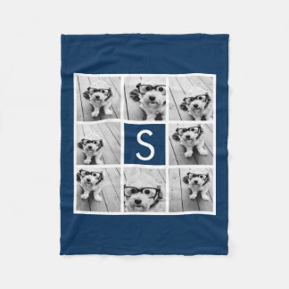 Create Your Own Instagram Collage Custom Monogram Fleece Blanket