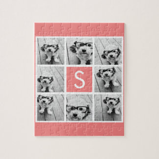 Create Your Own Instagram Collage Custom Monogram Jigsaw Puzzle