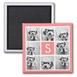 Create Your Own Instagram Collage Custom Monogram Square Magnet