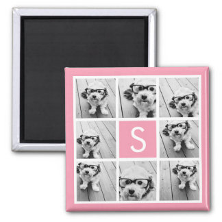 Create Your Own Instagram Collage Custom Monogram Magnet
