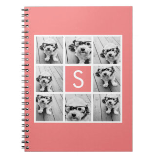 Create Your Own Instagram Collage Custom Monogram Notebook