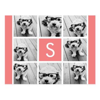 Create Your Own Instagram Collage Custom Monogram Postcard