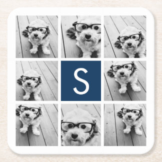 Create Your Own Instagram Collage Custom Monogram Square Paper Coaster