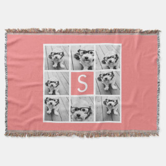 Create Your Own Instagram Collage Custom Monogram Throw Blanket