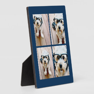 Create Your Own Instagram Collage Navy 4 Pictures Plaque