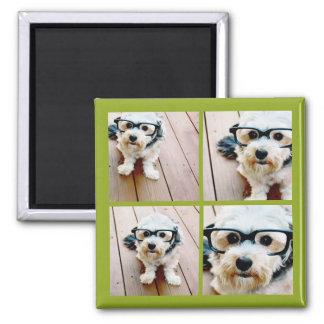 Create Your Own Instagram Collage Pistachio 4 pics Square Magnet