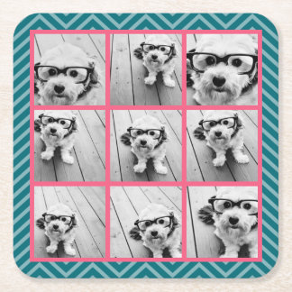 Create Your Own Instagram Photo Collage 9 photos Square Paper Coaster