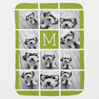 Create Your Own Instagram Photo Collage Lime Baby Blanket