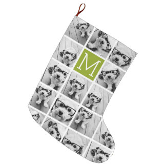 Create Your Own Instagram Photo Collage Lime Large Christmas Stocking