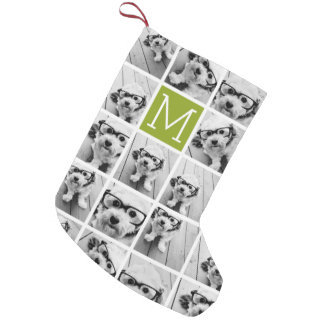 Create Your Own Instagram Photo Collage Lime Small Christmas Stocking