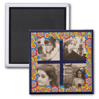 Create Your Own Instagram Photos Trippy Flowers Square Magnet