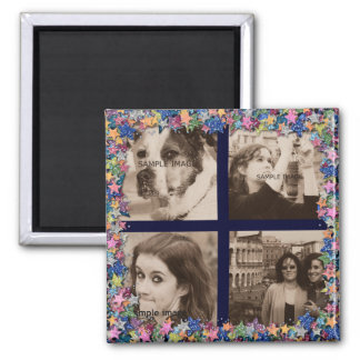 Create Your Own Instagram Pics Girly Glitter Stars Square Magnet