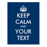 "Create your own ""Keep Calm and Carry On"" (blue) Postcard"