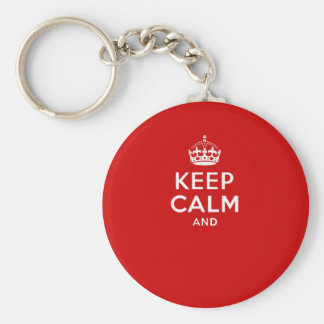 Create your own 'Keep Calm and carry on' crown red Basic Round Button Key Ring