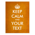 "Create your own ""Keep Calm & Carry On"" (gold foil) Postcard"
