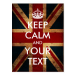 Create your own Keep Calm & Carry On (Union Jack) Post Cards