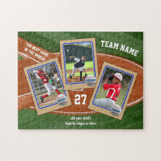 Create Your Own Kids Baseball Card Sports Collage Jigsaw Puzzle