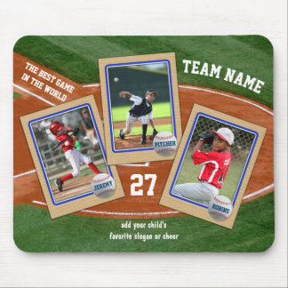Create Your Own Kids Baseball Cards Sports Collage Mouse Mat