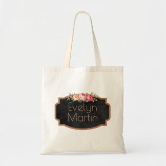 Create Your Own Monogram Name | Chalkboard Flowers Tote Bag