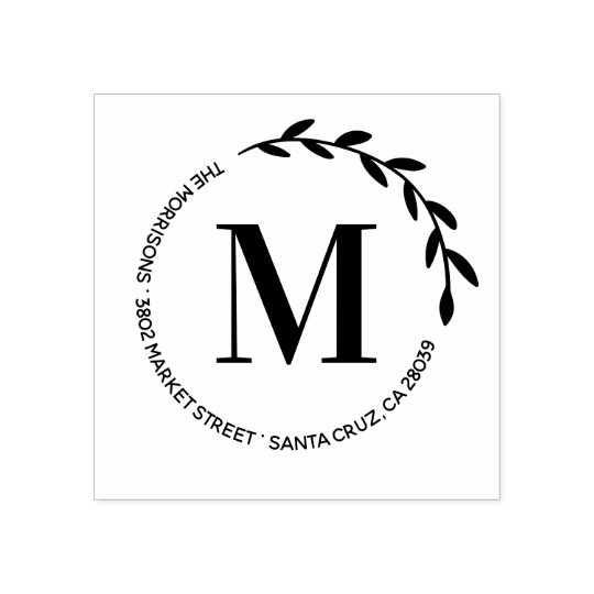 Design Your Own Rubber Stamp: Create Your Own Monogram Round Return Address Rubber Stamp