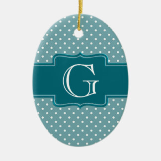 Create Your Own Monogrammed Teal Jade Polka Dots Christmas Ornament