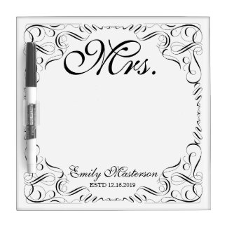 Create Your Own Mr Mrs His Hers Wedding Monogram Dry Erase White Board