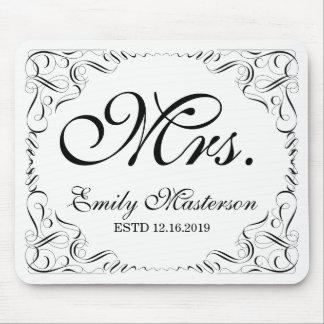 Create Your Own Mr Mrs His Hers Wedding Monogram Mouse Mat