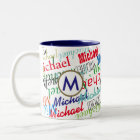 create your own name pattern colour Two-Tone coffee mug