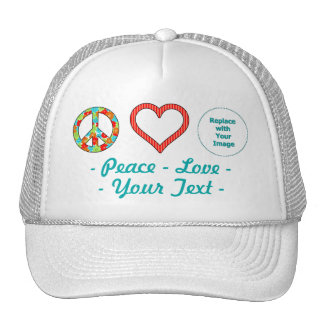 Create Your Own Personalized Peace Love Design Cap