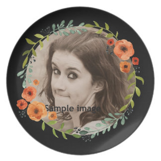 Create Your Own | Personalized Photo Boho Floral Plate