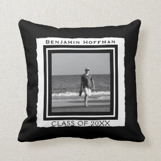 Create Your Own Photo | Black and White Graduation Throw Pillow