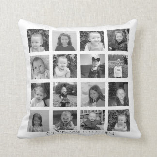Create Your Own Photo Collage - 16 photos Cushion