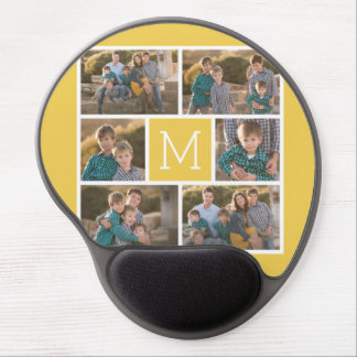 Create Your Own Photo Collage - 6 photos Monogram Gel Mouse Mat