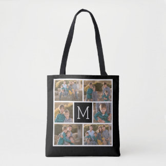 Create Your Own Photo Collage - 6 photos Monogram Tote Bag