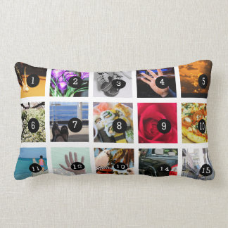 Create Your Own Photo collage with 15 images Lumbar Cushion