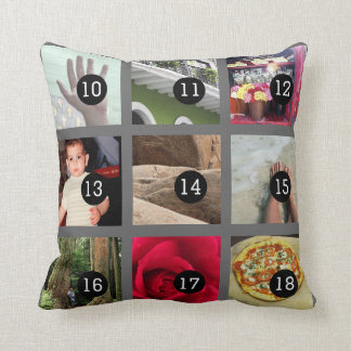 Create Your Own Photo collage with 18 images Cushion