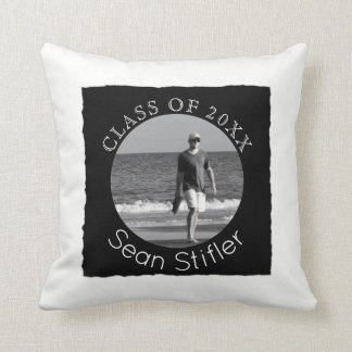 Create Your Own Photo Graduation | Black and White Throw Pillow