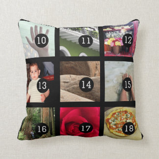 Create Your Own Photo Instagram with 18 images Throw Pillow