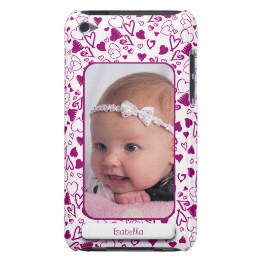Create Your Own Photo Pink Hearts Love Child Barely There iPod Cases