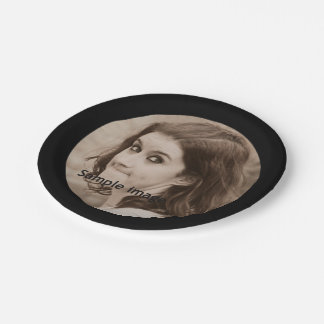 Create Your Own Photo | Simple Modern Black Party Paper Plate