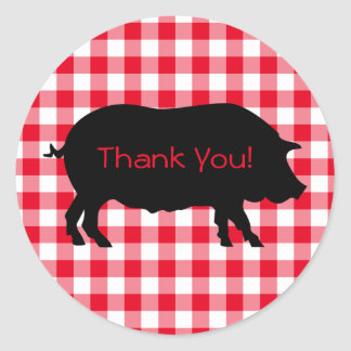 Create Your Own Pig Silhouette Gingham Thank You Classic Round Sticker