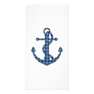Create your own | Plaid tartan blue anchor Card