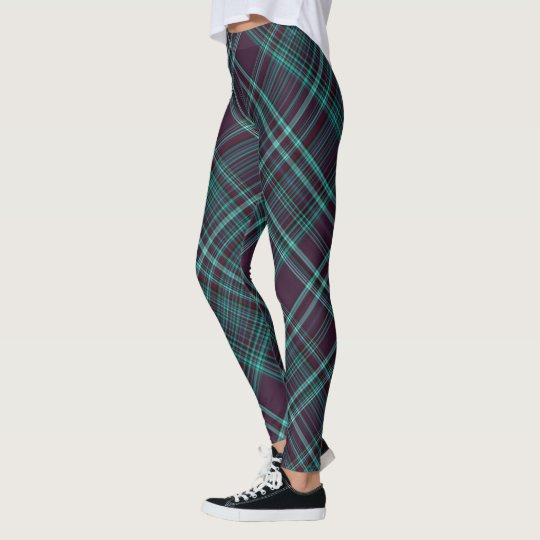 Create Your Own Purple & Teal Plaid Leggings