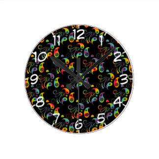 Create Your Own Rainbow Paisley Round Clock