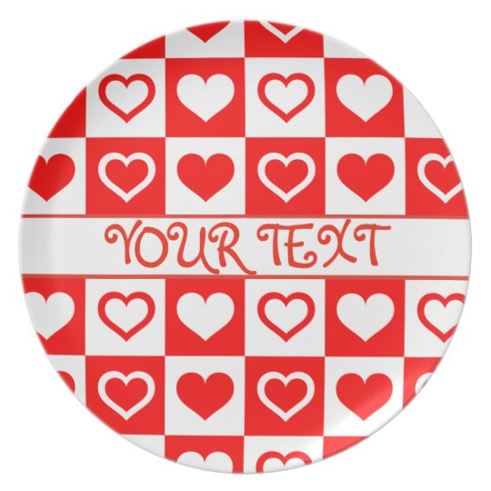 CREATE YOUR OWN RED HEARTS TEMPLATE MELAMINE PLATE
