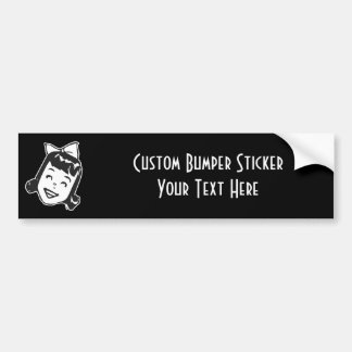 CREATE YOUR OWN RETRO HAPPY GIRL GIFTS BUMPER STICKER