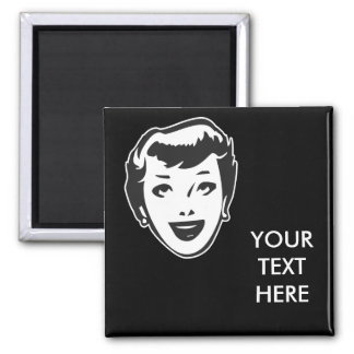 CREATE YOUR OWN RETRO HAPPY LADY HEAD GIFTS SQUARE MAGNET